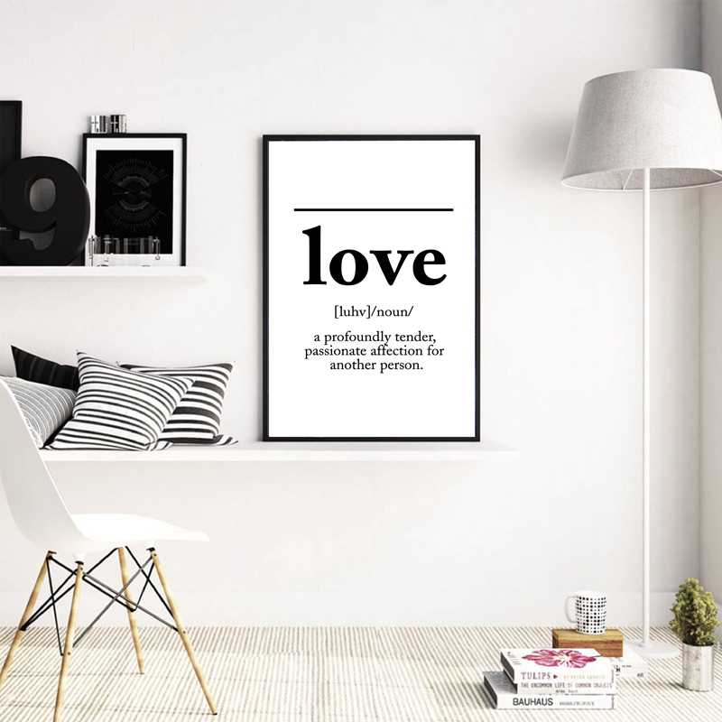 Love Definition Canvas Art Print Scandinavian Canvas Painting Love Poster Home Bedroom Wall Painting Art Decor