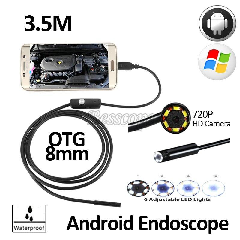 2MP 8mm 3.5 M Android OTG USB Endoscope Caméra Serpent Flexible USB Android Téléphone Étanche D'inspection Endoscope Caméra HD720P