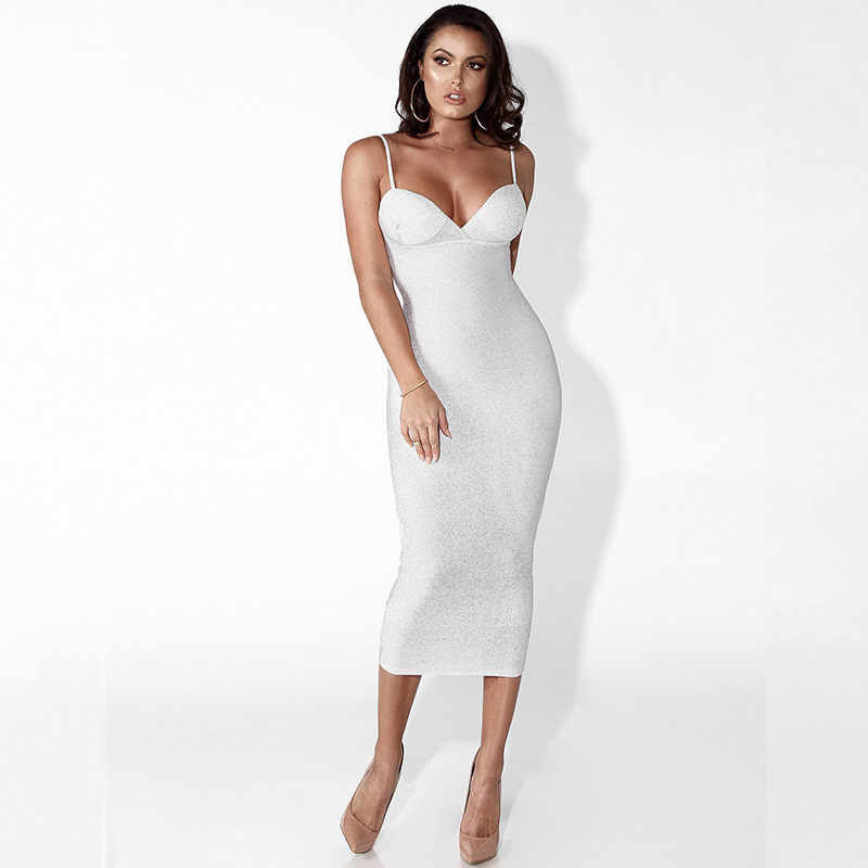 White Spaghetti Strap V Neck Sexy Summer Women Dress Sleeveless Bodycon Bandage Dress Casual Long Party Dresses Vestidos