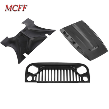 RC Car Air Inlet Grille Front Face & Engine Hood for 1/10 RC Rock Crawler Axial SCX10 90046 Rubicon Body Shell