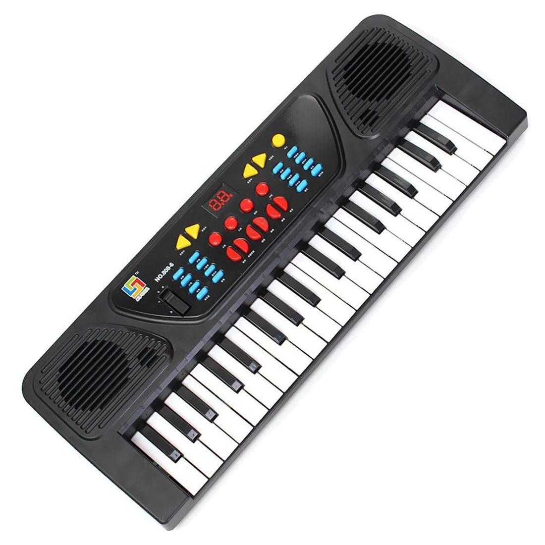 Enfants Enfants 37 Clé Électronique Clavier Piano Jouet Musical Enregistrement Microphone Mic, noir + Blanc