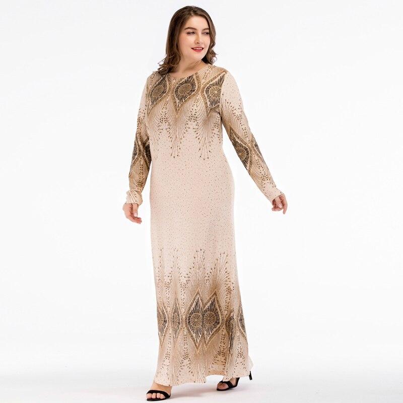 Islamic Women Vintage Abaya Muslim Dress Long Sleeve Printed Turkey Elegant Ladies Robe Maxi Long Party Dresses plus size 4XL 2