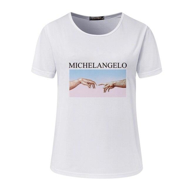 Michelangelo Cappella Sistina Harajuku Ulzzang Tumblr Women T shirt New Summer Letter print Femme Casual Aesthetic art Tops Tee