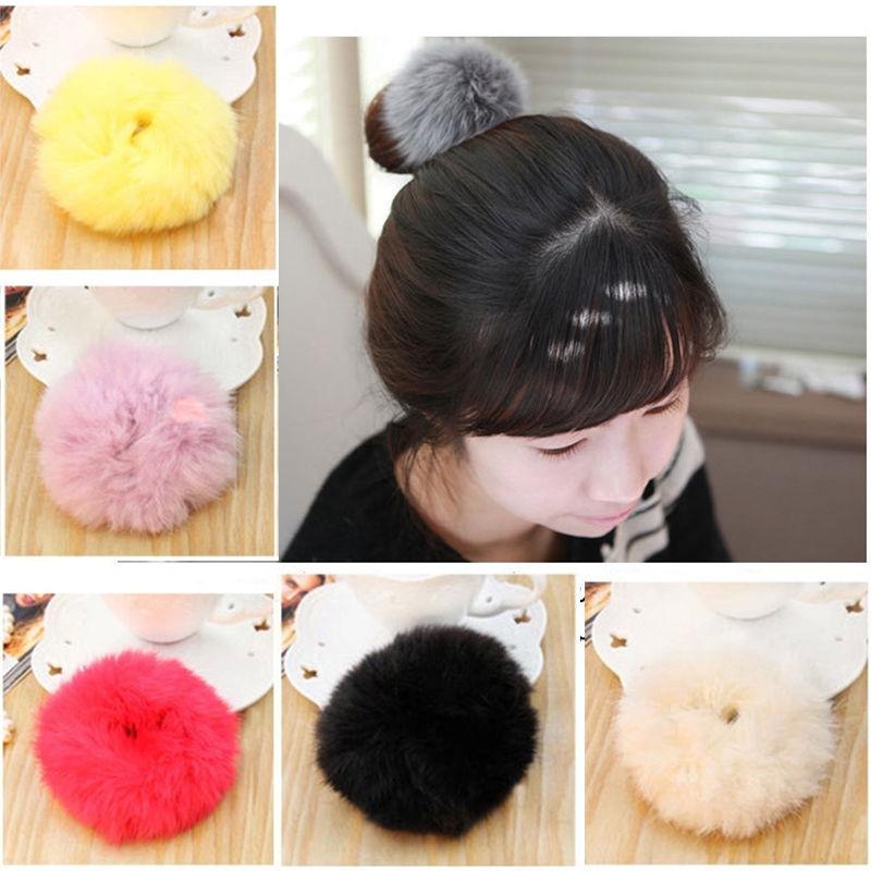1 pc Imitate rabbit fur Hair Ring Super Elastic Hair Bands Women Hair  Accessories Hair Donut 5 colors 4998badfe707
