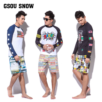 Mens splicing surfing wetsuit male sunscreen long sleeve snorkeling shirts and shorts set two-piece swimwear split surfing suit