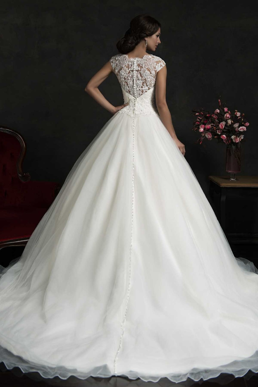 2015 Vintage High Neck Long Organza Ball Gown Wedding Dress Bridal Gown Cap Sleeve Bridal Wedding Gown Button F1319 in Wedding Dresses from Weddings Events