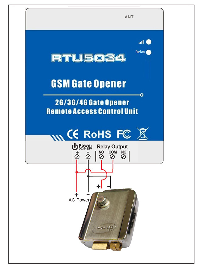 RTU5034 GSM Gate opener Wiring connection with door lock