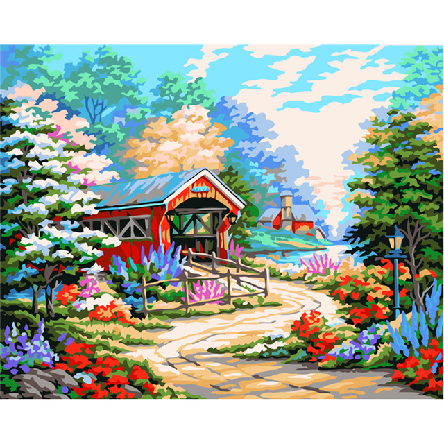 MaHuaf X040 Country road Framed Pictures painting by numbers drawing ...