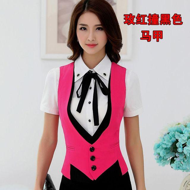 Office Lady Slim Fit Blazer Vest OL Formal suit vest Women Work wear patchwork waistcoat Mujer Chaleco 73103