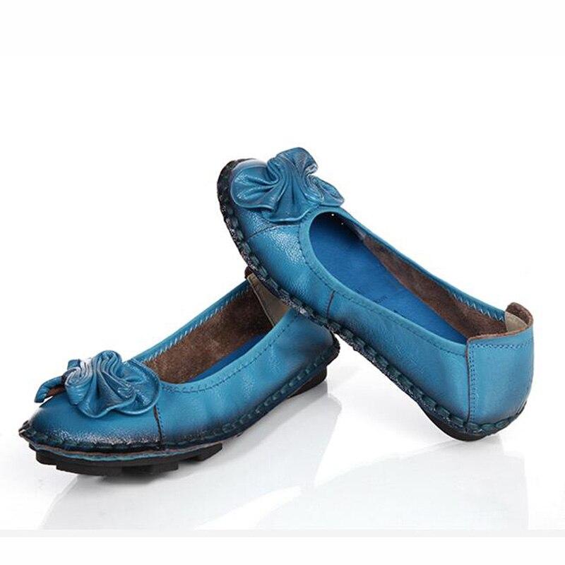 Pu Xingdeng Planos 35 Zapatos Flores yellow Mujeres Mamá light blue plum Moda Suave Blue Doug Señoras Punta Redonda 40 Cuero Tamaño Beige Respirables black PqPYrpw