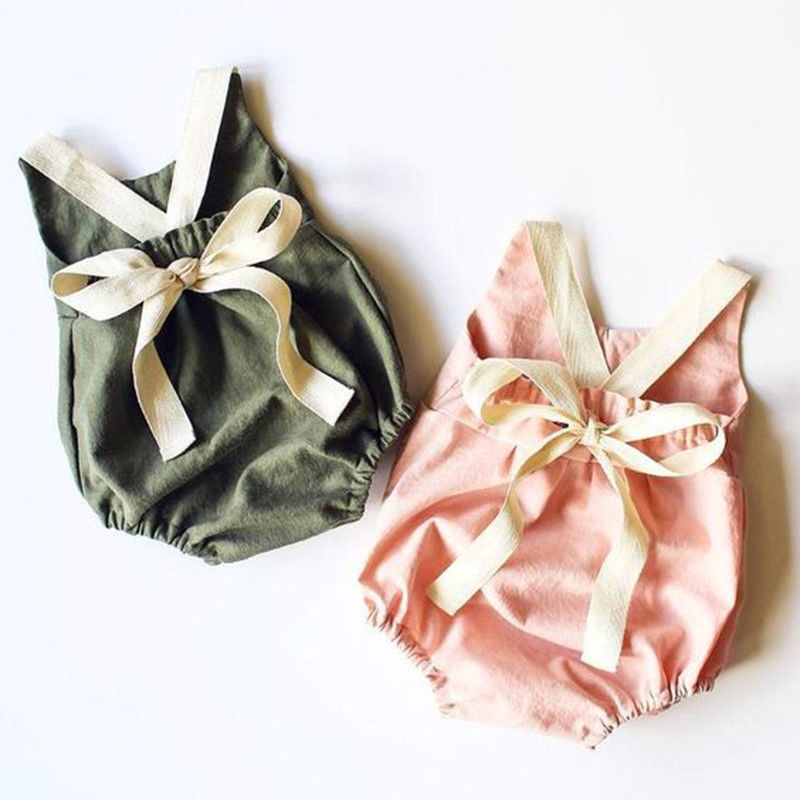 0-24M Newborn Kid Baby Girl Clothes Summer Bowknot Backless Romper Casual plain Outfits Infantil Clothing  costume(China)