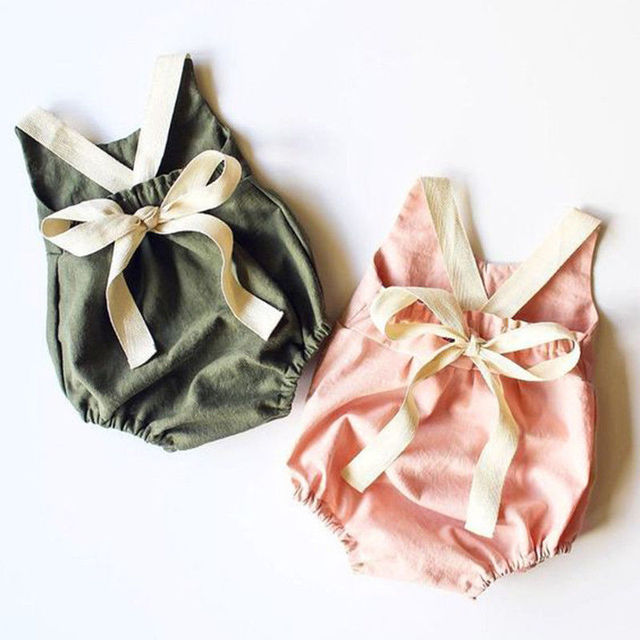 Summer Bowknot Backless Romper Casual Plain Outfit For 0-24 Months Baby