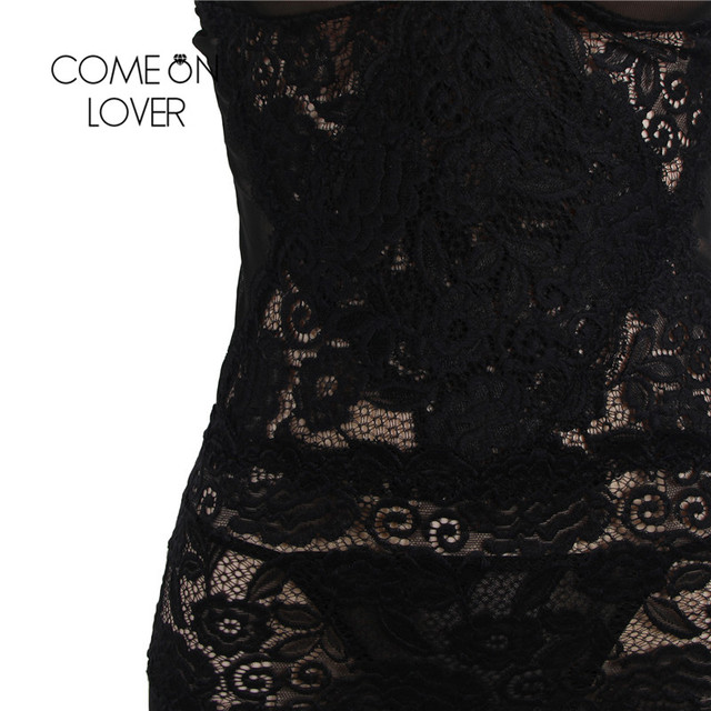 Comeonlover Disfraces Eroticos Mujer Mesh And Lace Elegant Lingerie Gown Black Plus Size Erotic Dress Lingerie Costume RI80441 3