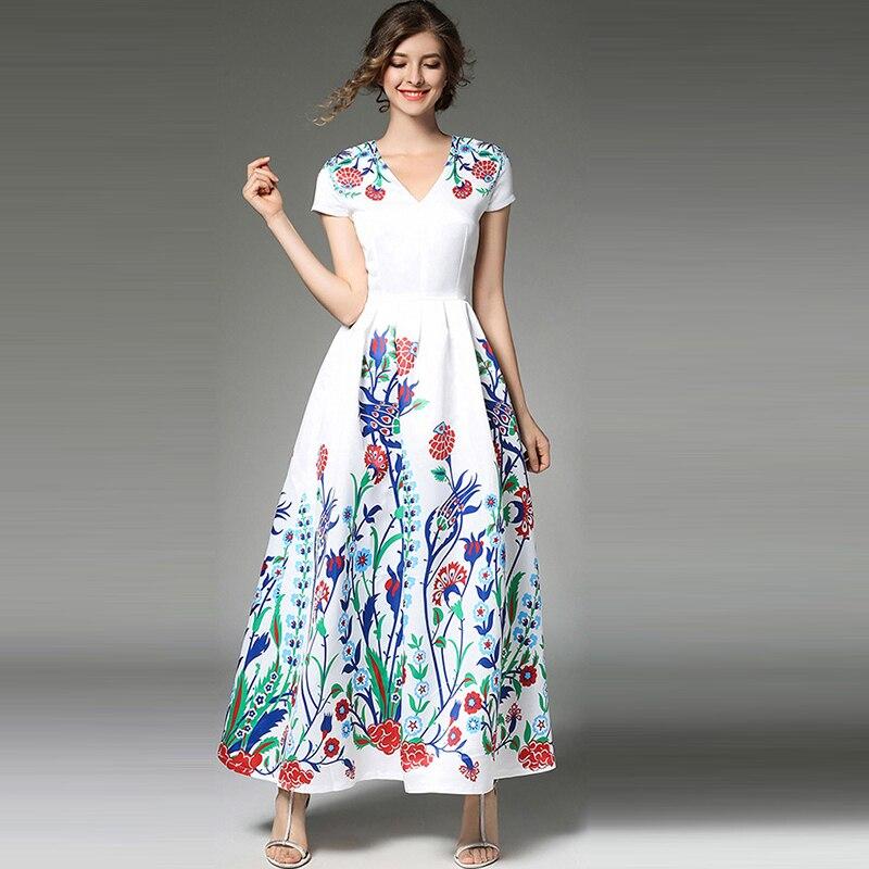 Été Étage Robes Imprimer Haute Floral Femmes Motif Casual Une De 2018 Nouveau Ligne 2xl Fiesta S Robe Blanc Longueur Mignon Taille odeWrBCx