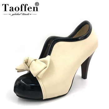 d1738b0d Taoffen del alto Talón de las mujeres zapatos nuevos zapatos de plataforma  Sexy lazo de dama bombas Vintage Bowknot del dedo del pie redondo Oficina  dama ...