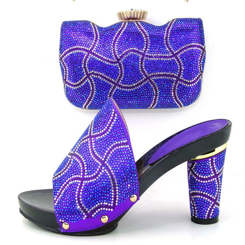 ФОТО Specail fashion design ME3318 Italian shoes matching with bags with rhinestone,New African shoes and bag sets for party