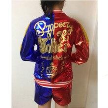 Джокер» и «Харли Квинн» костюмы для девочек complet Топ взрослых Карнавальный костюм суицидальные куртка костюм комплект рубашка отряд самоубийц