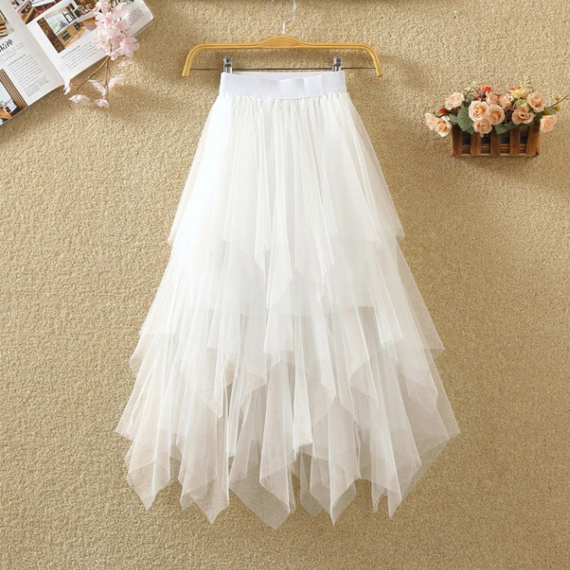 Ursohot Boho Tulle Skirts Maxi Skirt Women 2019 Summer High Waist Mesh Plus Size Jupe Femme Beach Party White Tutu Midi Faldas in Skirts from Women 39 s Clothing