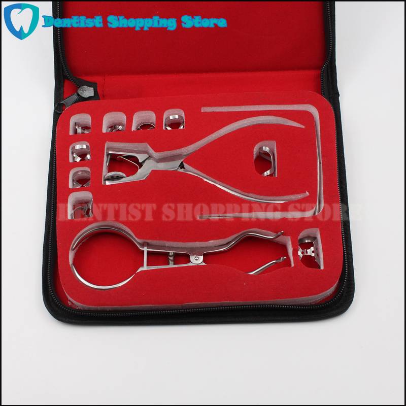 Teeth Care Dental Rubber Dam Set Perforator Puncher Pliers for Dentist Orthodontic Lab Device Instrument Equipment 12Pcs