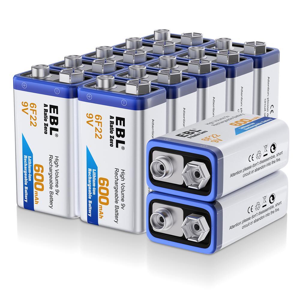 EBL 12 pack 6F22 600 mAh 9 v Li-ion Batteries de remplacement batterie Lithium-ion livraison gratuite