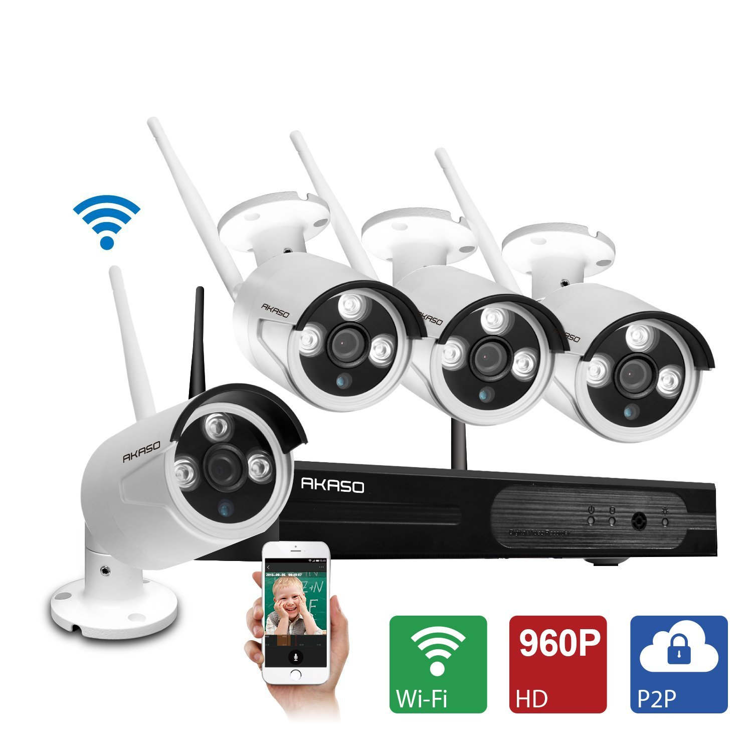 AKASO 4CH 960P HD WIFI Security font b Camera b font System Wireless Video Surveillance CCTV