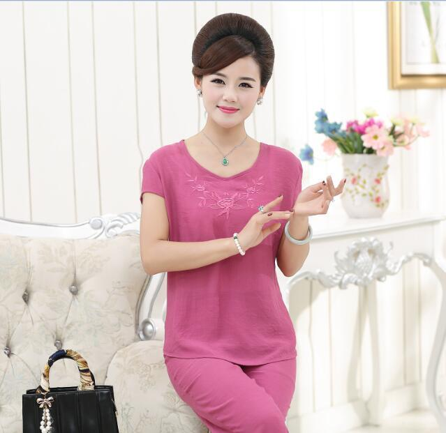 Hot sale summer new cheap fashion embroidery lady's blouse suit with pants