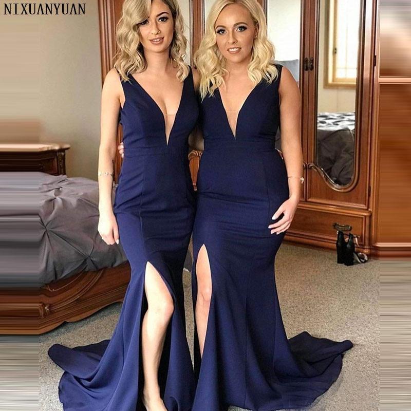 Navy Blue Long Bridesmaid Dresses Side Split Formal Party Gown Plus Size Vestido De Festa Longo Custom Made Long Party Dress