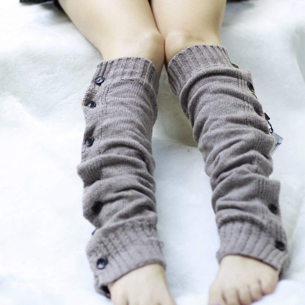 Winter Knitted Leg Warmers for Boots Womens Thigh High Leg Warmers Stretch Knit Button Boot Cuffs Leg Gaiter Crochet Boot Socks