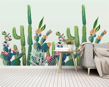 Купить с кэшбэком Beibehang Custom photo 3d wallpaper mural small fresh Hand Painted tropical plant cactus background wallpaper for walls 3 d
