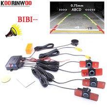 Auto 16mm Parktronic Dual Core Video Car Parking Sensor 4 Backup Radars Alarm System BIBI Sound Alert Video input show Distance