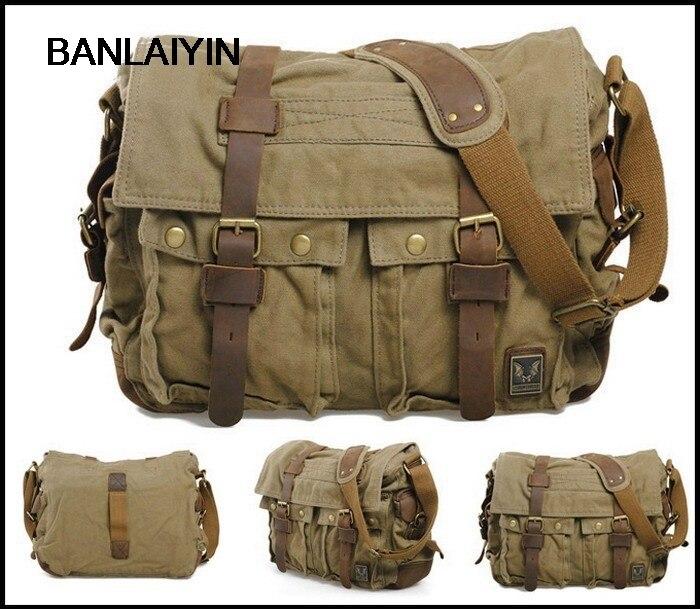 Women Mens Vintage Canvas Leather School Briefcase Military Travel Shoulder Bag Messenger Sling Crossbody Bag Satchel-Carbon