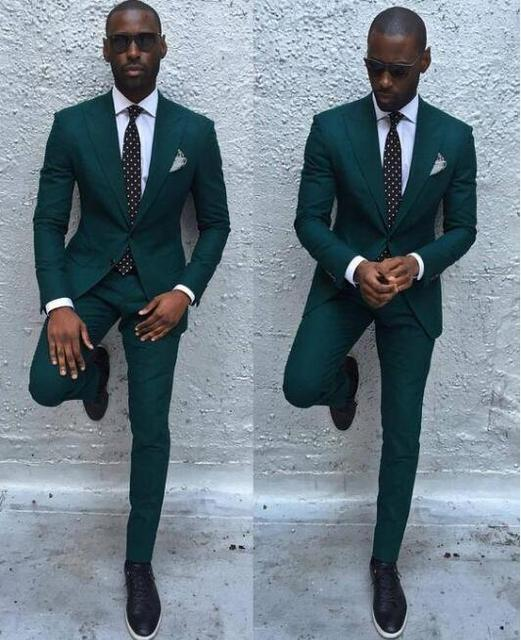2017 New Arrival Dark Green Mens Dinner Party Prom Suits Groom ...