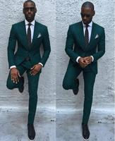 2017 New Arrival Dark Green Mens Dinner Party Prom Suits Groom Tuxedos Groomsmen Wedding Blazer Suits (Jacket+Pants+Tie)
