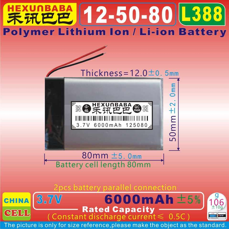 [L388] 3.7 V 6000 mAh [126080] Polímero de íon de lítio/bateria Li-ion para tablet pc, GPS, banco de potência, MP4, MP3