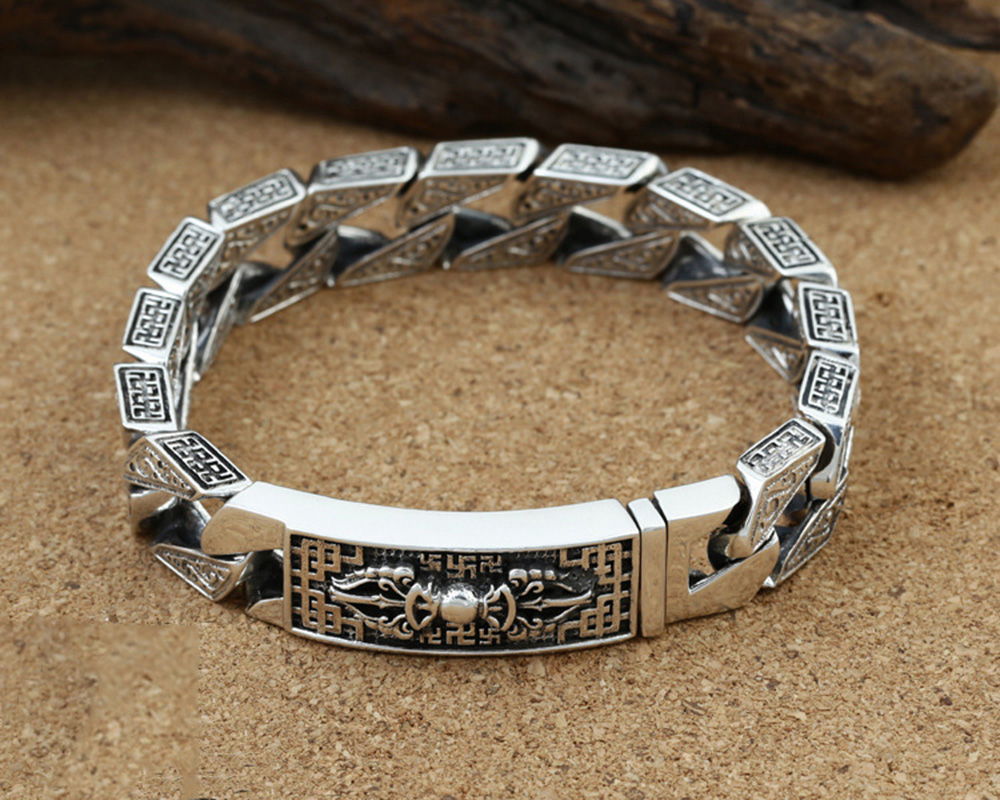 925 Sterling Silver Bracelet for Men Retro Six Word's Wide 13mm Man Bracelets Heavy Thai Silver Fashion Jewelry Free Shipping 2018 925 bracelets mens vintage men s bracelet heavy thai silver fashion jewelry free shipping men s silver 925 charm bracelet