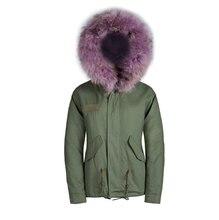 Светло-фиолетовый искусственного меха гуд куртка мужской пиджак енота меховым воротником гуд куртка