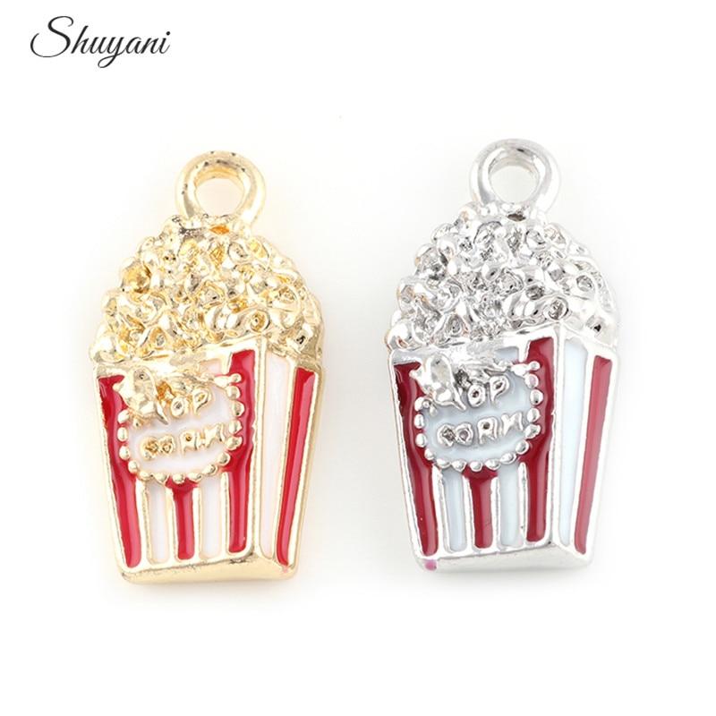 20PCS Wholesale Alloy Metal Popcorn Charms Pendant Fit Women Necklace Accessories DIY Handmade Jewelry