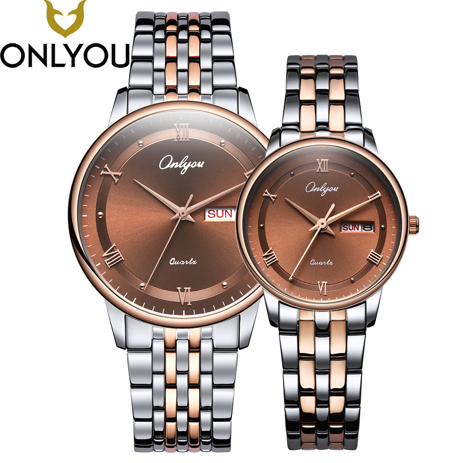 ONLYOU Lovers Watches Men Top Business Brand Watch Women Luxury Fashion Wristwatch Ladies Dress Stainless Steel Quzrtz Clock