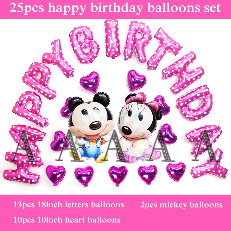 free shipping 25pcs/set foil balloons mickey minnie mouse birthday balloon set for babay happy birthday letter balloons supplies
