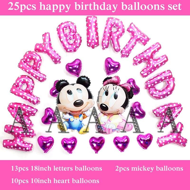 free shipping 25pcs/set foil balloons mickey minnie mouse birthday balloon set f