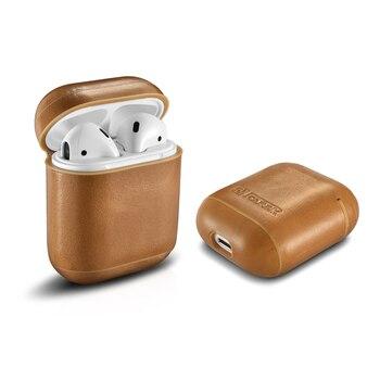 Kasus Untuk Apple Airpods Asli Kulit Kasus Lengan Pouch Kotak headphone Earphone aksesoris Pelindung Penutup