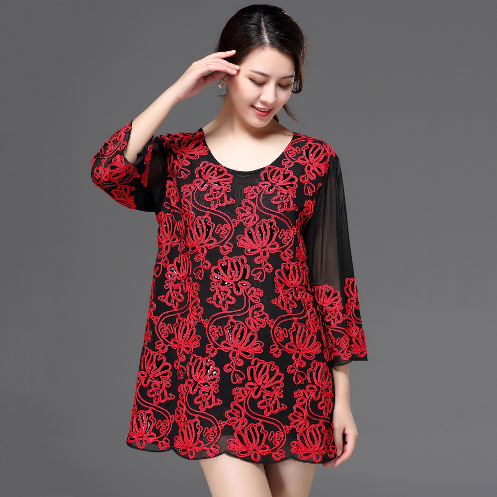 Detail Feedback Questions about Elegant Women Summer Party Blouse Oversized Loose  Long Mesh Shirt 3 4 Sleeve Flower Appliqued Deco Sequin Tunic Plus Size ... e2ffceea326b