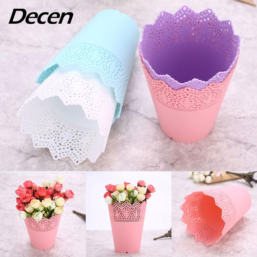 Desk Tidy Holder Lace Plant Vase Pot Economic Plastic Pink/White/Blue/Purple Organizer Home Decoration Makeup Brush Flower Vase