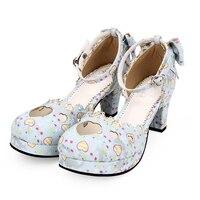 Ангельский отпечаток сладкий женский стиль lolita насосы Новая мода круглый носок танкетка Лолита обувь размер 35 39 8950