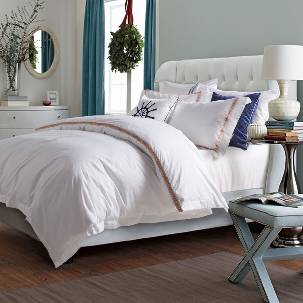 White cotton bed sheets - Hotel Series 4 Pieces 100 Cotton White Bed Sheet Set Queen Size Embroidered Bedding Duvet