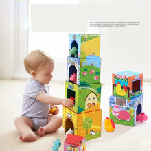 12 шт., Набор кубиков для укладки, 6 картонных домиков и 6 ПВХ, детские блоки для укладки животных, дошкольное раннее образование, игрушки, подарки