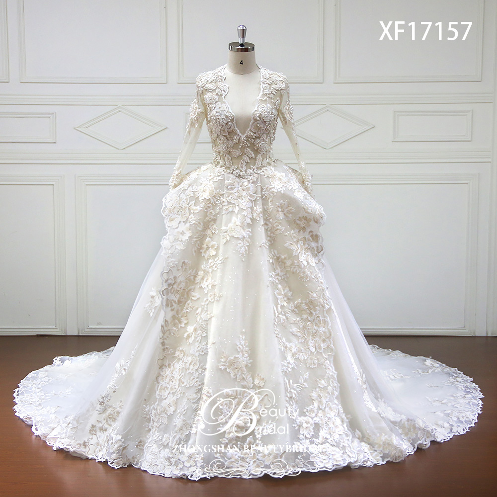Di Cristallo di lusso High-end su misura Abito Da Sposa 2018 Profondo Scollo A V Sexy Manica Lunga Abiti Da Sposa Vestido de Noiva XF17157