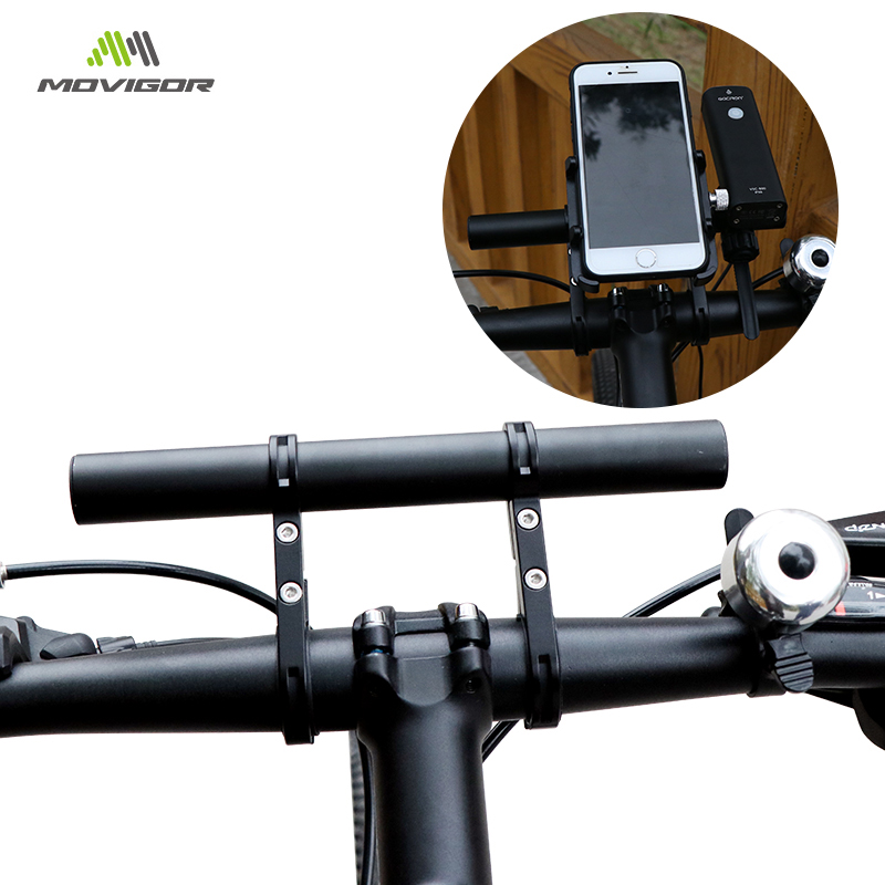 MOVIGOR 2 Style Bicycle Handlebar Extended Bracket Headlight Mount Bar 10cm 20cm Computer Holder Alloy Carbon Fiber Support Rack in Bicycle Handlebar from Sports Entertainment