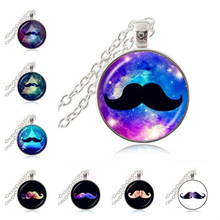 Moustache Necklace Colorful Galaxy with Beard Photo Pendant Space Nebula Jewelry Astronomy Universe Sweater Necklace Accessories