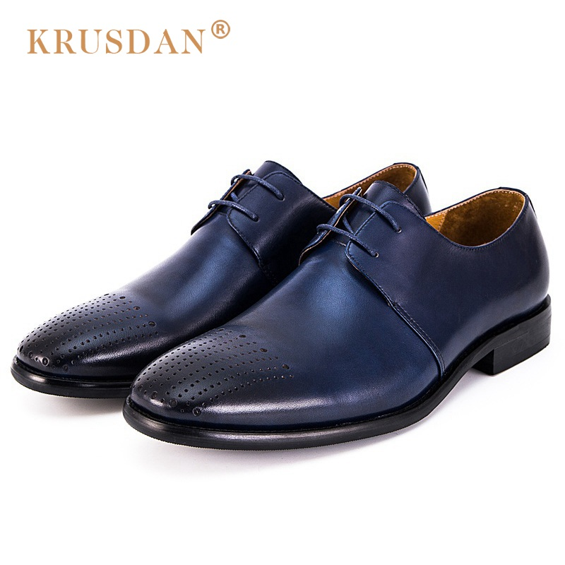 KRUSDAN New Breathable Man Formal Dress Shoes Classic Genuine Leather Handmade Oxfords Round Toe Lace up Men's Party Flats